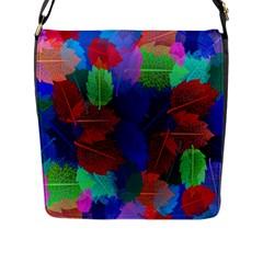 Floral Flower Rainbow Color Flap Messenger Bag (L)