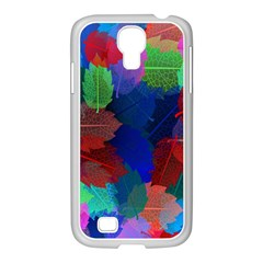 Floral Flower Rainbow Color Samsung GALAXY S4 I9500/ I9505 Case (White)
