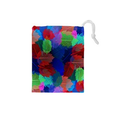 Floral Flower Rainbow Color Drawstring Pouches (Small)