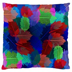 Floral Flower Rainbow Color Large Flano Cushion Case (Two Sides)