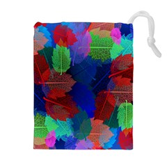 Floral Flower Rainbow Color Drawstring Pouches (Extra Large)