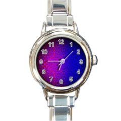 Geometri Purple Pink Blue Shape Pattern Flower Round Italian Charm Watch