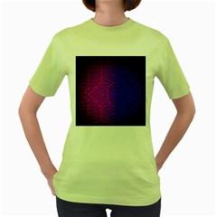 Geometri Purple Pink Blue Shape Pattern Flower Women s Green T-Shirt