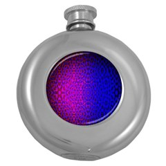 Geometri Purple Pink Blue Shape Pattern Flower Round Hip Flask (5 oz)