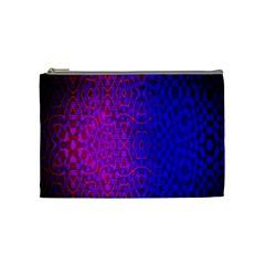 Geometri Purple Pink Blue Shape Pattern Flower Cosmetic Bag (Medium)
