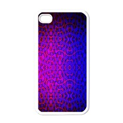 Geometri Purple Pink Blue Shape Pattern Flower Apple iPhone 4 Case (White)