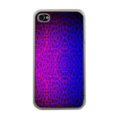 Geometri Purple Pink Blue Shape Pattern Flower Apple iPhone 4 Case (Clear)