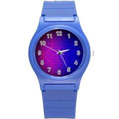 Geometri Purple Pink Blue Shape Pattern Flower Round Plastic Sport Watch (S)