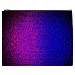 Geometri Purple Pink Blue Shape Pattern Flower Cosmetic Bag (XXXL)