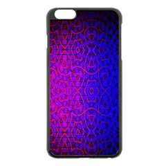 Geometri Purple Pink Blue Shape Pattern Flower Apple iPhone 6 Plus/6S Plus Black Enamel Case
