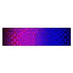 Geometri Purple Pink Blue Shape Pattern Flower Satin Scarf (Oblong)
