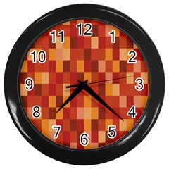 Canvas Decimal Triangular Box Plaid Pink Wall Clocks (Black)