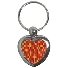 Canvas Decimal Triangular Box Plaid Pink Key Chains (Heart)