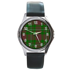 Cardney Tartan Fabric Colour Green Round Metal Watch