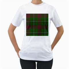 Cardney Tartan Fabric Colour Green Women s T Shirt (white) (two Sided)