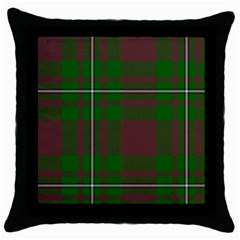Cardney Tartan Fabric Colour Green Throw Pillow Case (Black)