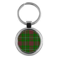 Cardney Tartan Fabric Colour Green Key Chains (Round)