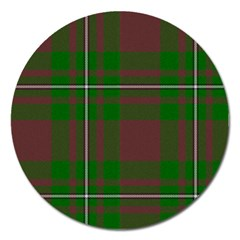 Cardney Tartan Fabric Colour Green Magnet 5  (Round)