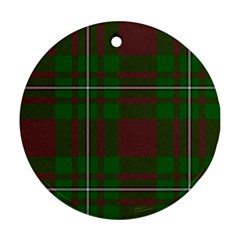 Cardney Tartan Fabric Colour Green Round Ornament (Two Sides)