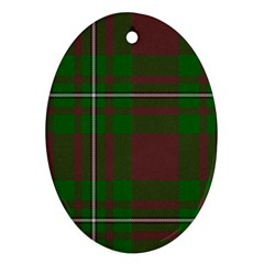 Cardney Tartan Fabric Colour Green Oval Ornament (Two Sides)