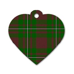 Cardney Tartan Fabric Colour Green Dog Tag Heart (One Side)