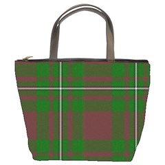 Cardney Tartan Fabric Colour Green Bucket Bags