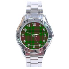 Cardney Tartan Fabric Colour Green Stainless Steel Analogue Watch