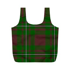 Cardney Tartan Fabric Colour Green Full Print Recycle Bags (M)