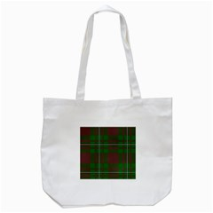 Cardney Tartan Fabric Colour Green Tote Bag (White)