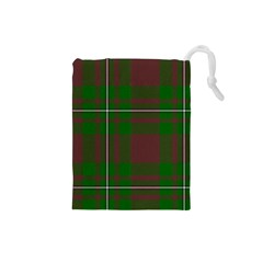 Cardney Tartan Fabric Colour Green Drawstring Pouches (Small)