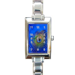 Blue Peacock Feather Rectangle Italian Charm Watch