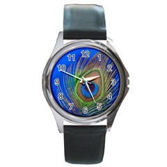 Blue Peacock Feather Round Metal Watch