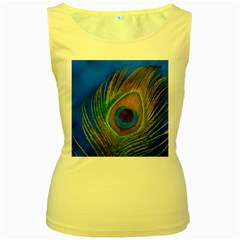 Blue Peacock Feather Women s Yellow Tank Top