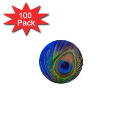 Blue Peacock Feather 1  Mini Buttons (100 pack)