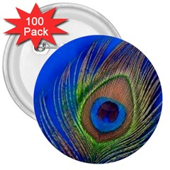 Blue Peacock Feather 3  Buttons (100 pack)