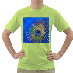 Blue Peacock Feather Green T-Shirt