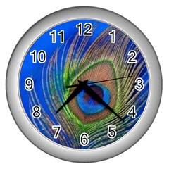 Blue Peacock Feather Wall Clocks (silver)