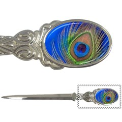 Blue Peacock Feather Letter Openers