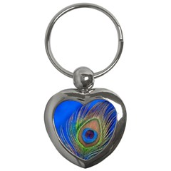Blue Peacock Feather Key Chains (Heart)