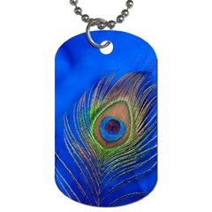 Blue Peacock Feather Dog Tag (One Side)