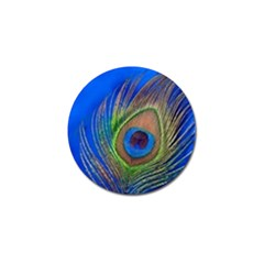 Blue Peacock Feather Golf Ball Marker