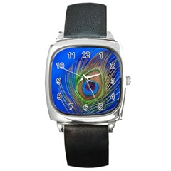 Blue Peacock Feather Square Metal Watch