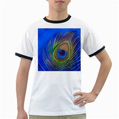 Blue Peacock Feather Ringer T Shirts