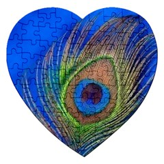Blue Peacock Feather Jigsaw Puzzle (Heart)