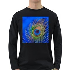 Blue Peacock Feather Long Sleeve Dark T-Shirts