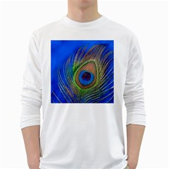 Blue Peacock Feather White Long Sleeve T-Shirts