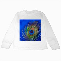 Blue Peacock Feather Kids Long Sleeve T Shirts
