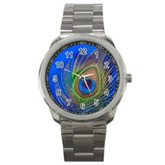 Blue Peacock Feather Sport Metal Watch