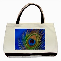 Blue Peacock Feather Basic Tote Bag