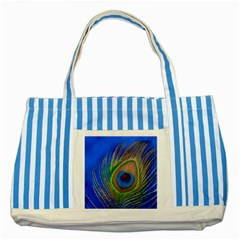 Blue Peacock Feather Striped Blue Tote Bag